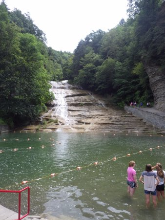 Ithaca Waterfalls: view of the falls and swimming hole