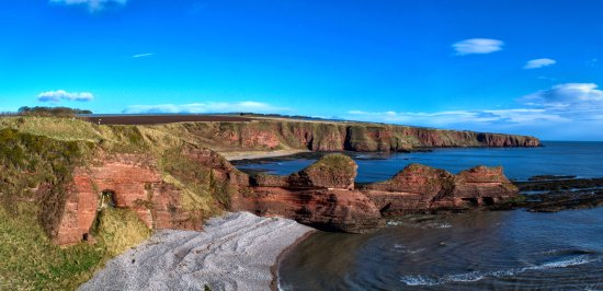 Arbroath to Auchmithie Coastal Path: looking over to the three sisters at seaton cliffs