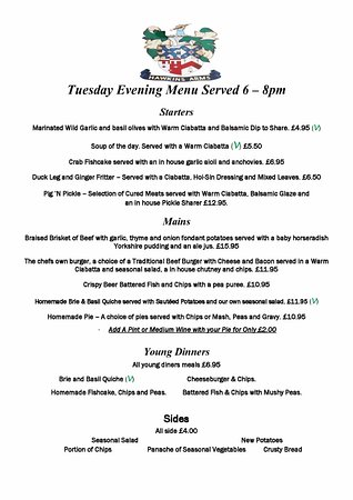 Probus, UK: Tuesday Evening SAmple Menu