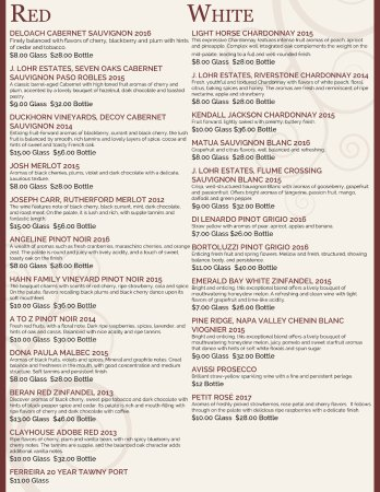 Mendon, MA: Wine List