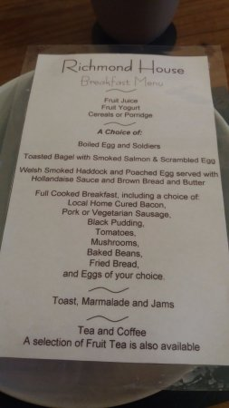 Richmond House: Brilliant Breakfast Menu