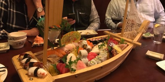 Hayashi: Sushi,sashimi and rolls served in the boat!
