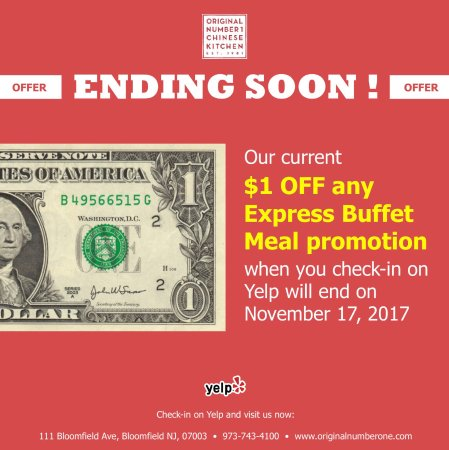 Bloomfield, Nueva Jersey: Don't forget you can get a $1 off any Express Buffet Meals by checking-in on Yelp