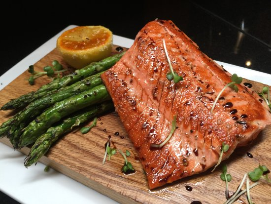 Honey balsamic glazed salmon with asparagus picture of for Chamberlains fish market grill