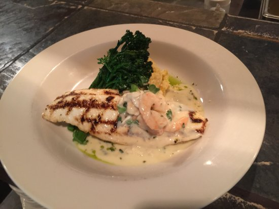 Grilled halibut with shrimp and crabmeat for Chamberlains fish market grill