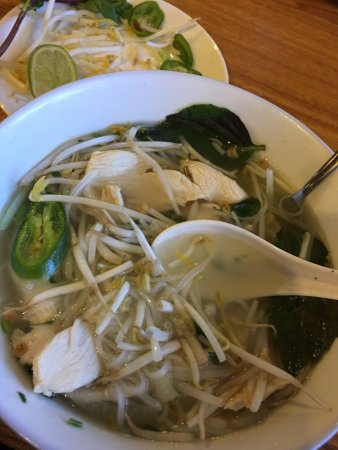 New Brighton, Μινεσότα: Chicken with rice noodles, sprouts, fresh basil on the stalk and lime.
