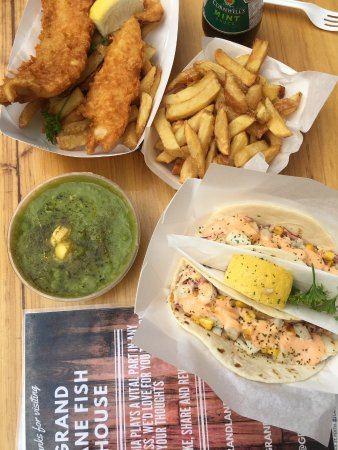 Grand Lane Fish House: Tacos, cod, chips and mushy peas