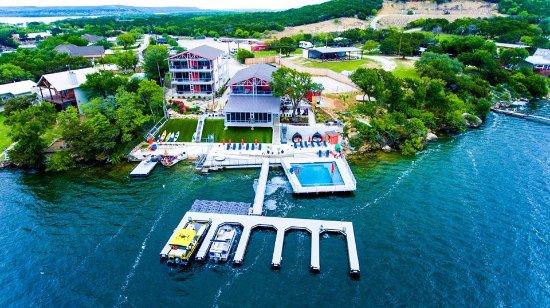 Graford, تكساس: drone shot of the resort taken in before dock expansion