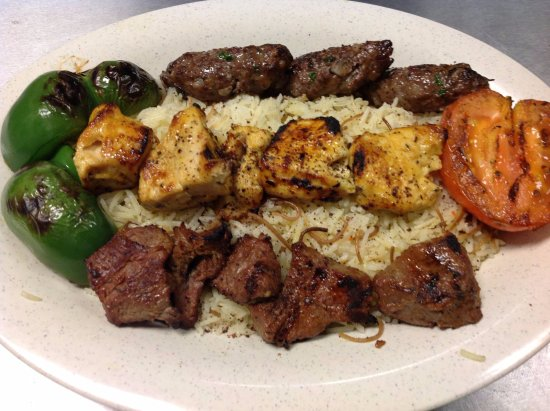 Monroe, GA: chciken kababe and shish kababe over rice