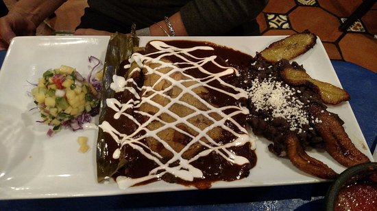 Highland Park, IL: Chicken tamale (layered) with mole, mango salsa, beans, sweet plantains (perfection)