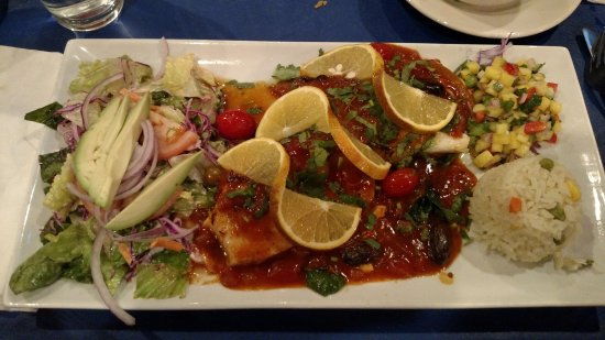 Highland Park, IL: Sea bass with salad, rice, mango salsa (fish was cooked perfectly; sauce was excellent complemen