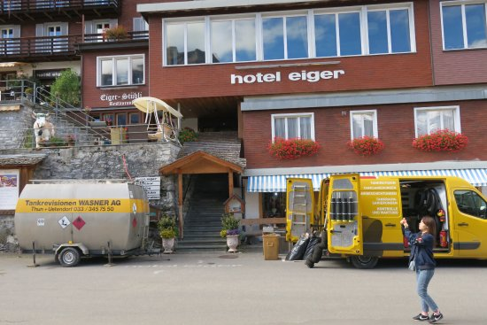 Eiger Guesthouse : Construction was going on at the hotel next door. Trucks were for that.
