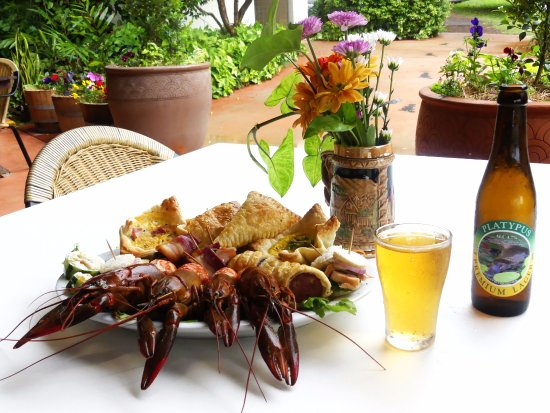 Malanda, Australia: Redclaw (yummy fresh water cray fish) and Platypus Premium beer