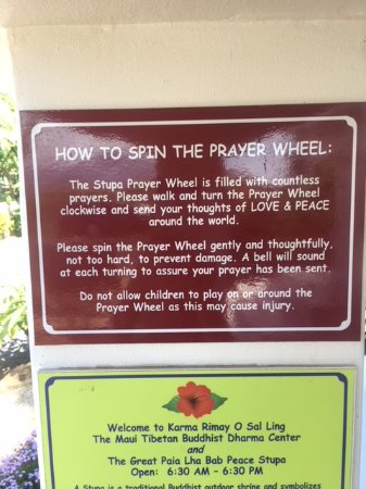 Paia, HI: Instructions for Prayer Wheel