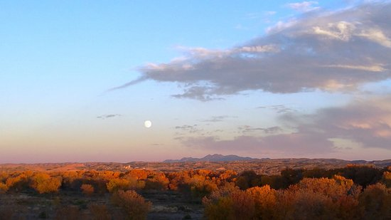 Santa Ana Pueblo, NM: moon rising while sun still up