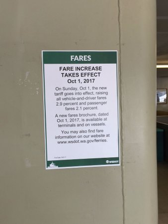 Washington State Ferries: Fare increase 2017 Notice