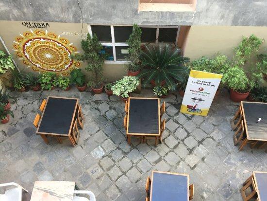Om Tara Guest House: Garden eatery on the first floor