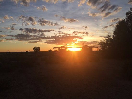 Coward Springs Campground: Toilet block against the setting sun