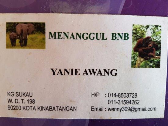 Sukau, Malasia: Yanie's biz card