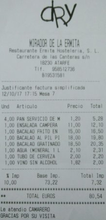Atarfe, Espanha: Mirador de la Ermita bill - 12/10/17