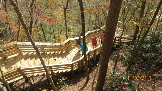 New River Gorge: Stairs to lower platform. Worth the effort.