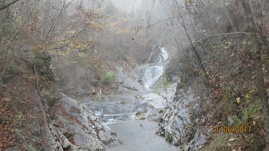 The Natural Bridge of Virginia: Waterfall in the rain