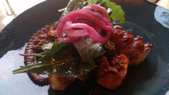 Charred Spanish Octopus with Kabocha Squash, Chorizo, Pickled Red