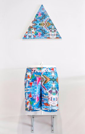 Pembroke Parish, Bermuda: Leading local artist Graham Foster's artwork is featured in this limited edition swim shorts.