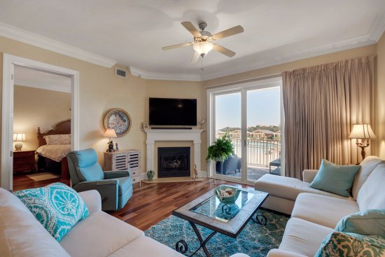 Comfortable living room of condo 1114 at Sanctuary at Redfish ...
