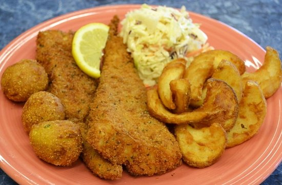 Wooster, OH: Panko Crusted Fish-n- Chips with 8 oz. cod,  fries, house slaw, hushpuppies and house tartar sau