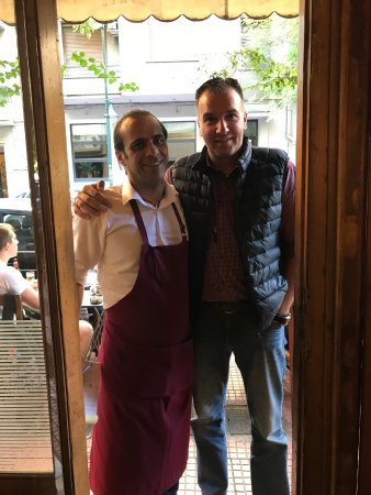 George's Taxi : Our Driver/Guide Alexandros (Alex) Mantzourogiannis with George the Chef/Owner of Fagopoteio