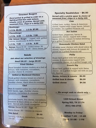 Spring Hill, TN: Menu Front and Back