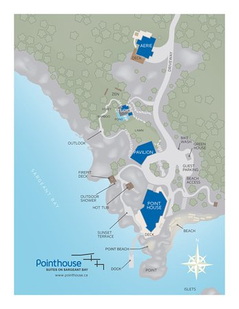 Halfmoon Bay, Canada: Map of Pointhouse Suites on Sargeant Bay