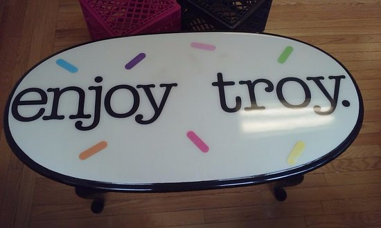 Fun table to enjoy your ice-cream at! Always, Enjoy Troy and support your local businesses!
