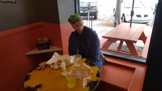 Burgerworx: Des sitting there contemplating another round of amazing food