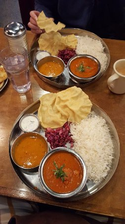 Chai Pani: Butter Chicken and some kind of bean based soup, and papadum