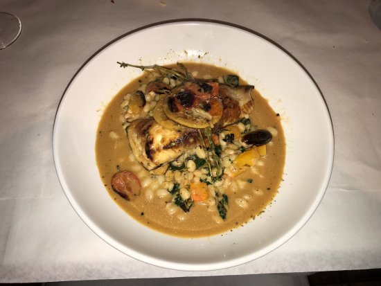 Geneva, IL: Pan Roasted Grouper - White beans | kale | butternut squash | lobster tomato broth | lemon | fre