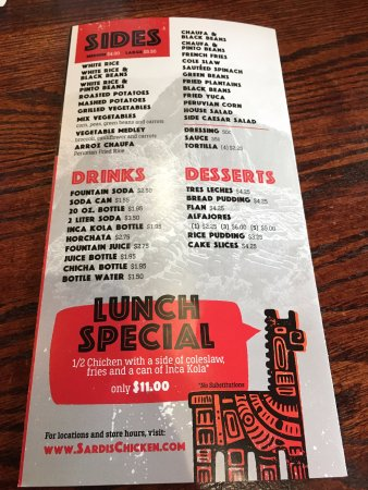 Bowie, MD: Menu: Sides, Drinks, Desserts, Lunch Special