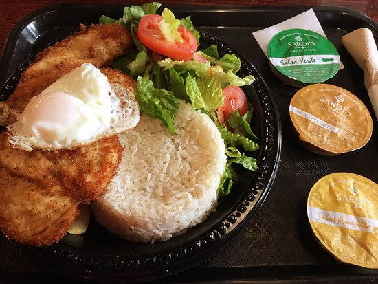 Bowie, MD: Milanesa De Pollo (breaded chicken pan fried w/ fried egg) w/white rice, fries, salad & Sardi sa