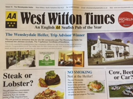 West Witton, UK: Pub News