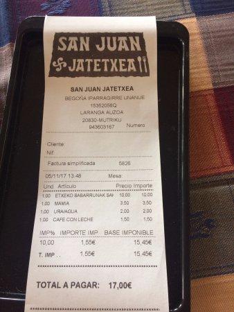 Mutriku, Spanien: la cuenta (un precio estupendo)