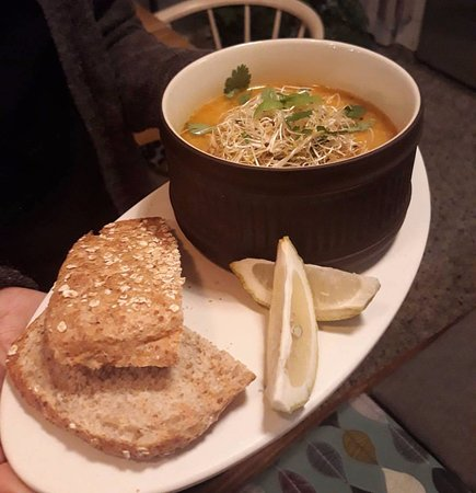 Valby, Denmark: Pumpkin and Lentils Soup served with bread