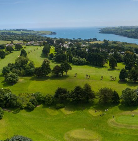 Falmouth, UK: Aerial view of the Budock Vean Golf Course, Cornwall