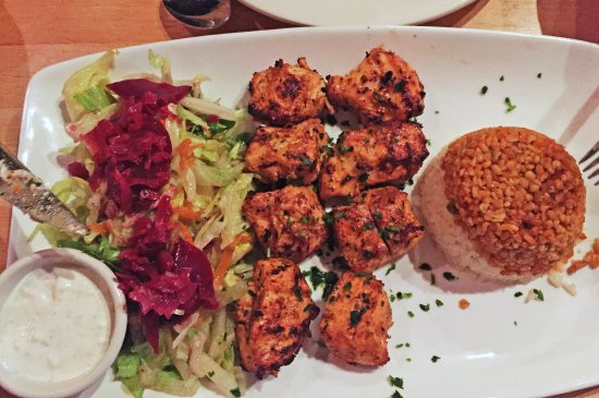 Mount Kisco, NY: Grilled chicken shish kebab comes with a great yogurt sauce and side salad and spiced rice
