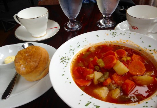 Big Pond, Canada: Garden Vegetable Soup for lunch with a fresh homemade biscuit. Mmmmm!