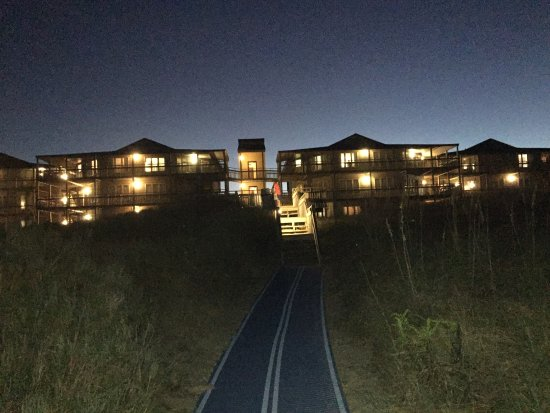 Outer Banks Beach Club seen from the Beach at Dusk