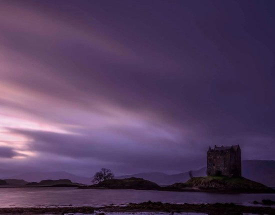 Appin, UK: Twilight on the loch with Stalker Castle