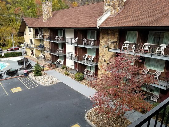 View from my balcony showing others picture of river for Motor lodge gatlinburg tn
