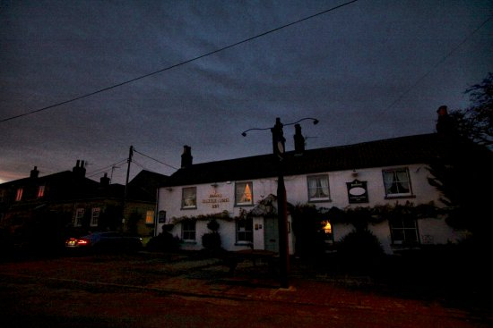Bedale, UK: The pub at night, with lane to rear parking on left, and to country walk beyond