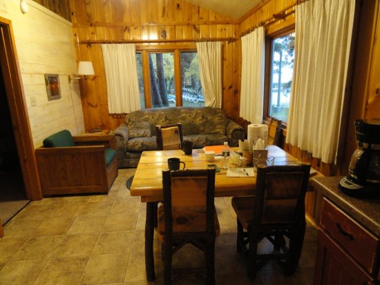 Two Inlets Resort: View from the kitchen of the cabin interior.
